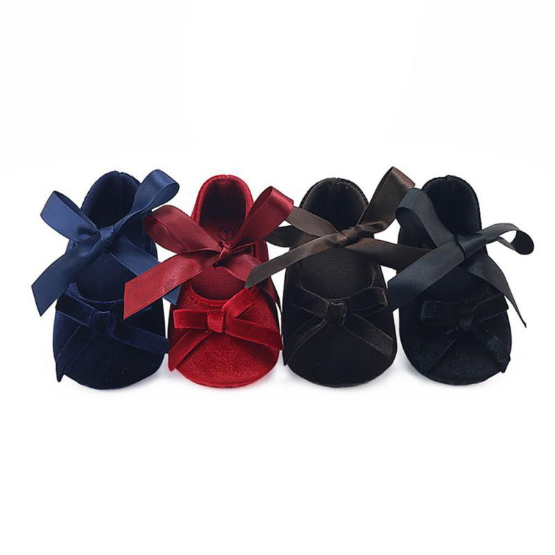 2017 New Autumn Winter Toddler Baby Gril Bow Princess Shoes Solid Soft Sole First Walkers High Quality Crib Shoes 0-12M j4