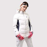 Для женщин лыжный костюм высокое качество зимние белые лыжная куртка и штаны Зимние теплые Водонепроницаемый ветрозащитный Лыжный спорт и