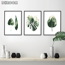 Botanical Leaf Prints Wall Art Watercolor Green Leaves Canvas Painting Monstera Decor Minimalist Poster Home