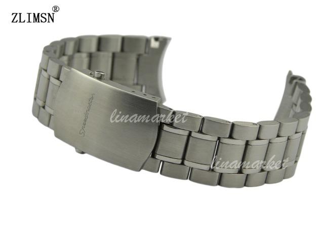 Hq zlimsn 20mm nueva plata sólido hebilla extremo curvo de acero inoxidable pulseras de reloj de correa de reloj relojes de hombre 2017
