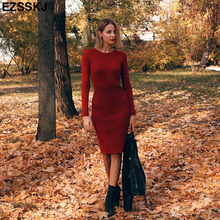 80747019cdd 2018 Autumn Winter long Sweater dress women solid bodycon Thick dress  Female Jumper O-neck