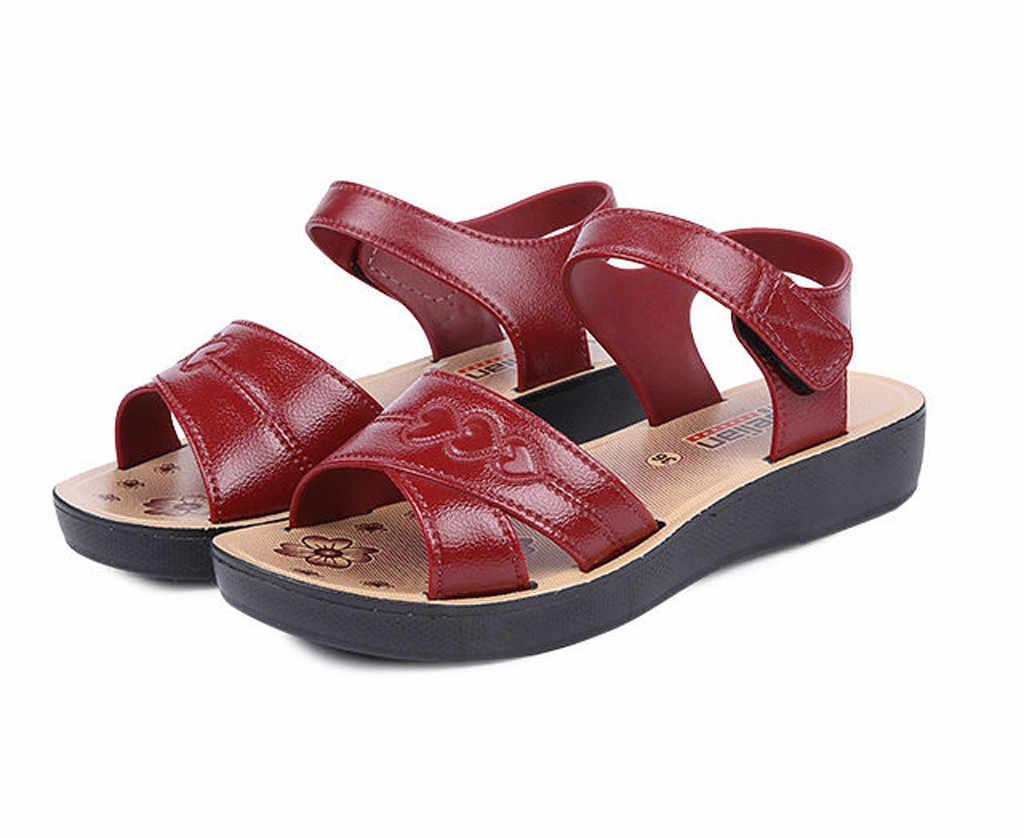 2019 Vrouwen Sandalen Ademende Zomer Schoenen Vrouw Platte Sandalen Zachte Bodem Moeder Schoenen Strand Wig Schoenen Lady zapatos de mujer