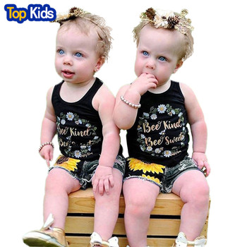 Kids Baby Girl Clothes Outfits Floral Sleeveless T-shirt Tops +Denim Jeans Pants Shorts Sunflower Summer Set MB458 1