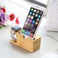 Дерево Телефон Стенд Зарядки Кронштейн Держатель для iPhone 6 6 S Plus SE 5 5S 5C 4S я Часы Натурального Бамбука Зарядка для Док-Станции