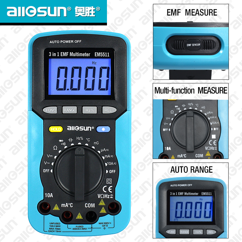 All Sun EM5511 EMF Digital Multimeter 3 In 1 EMF Multimeter Backlight LCD Display Tester Multi