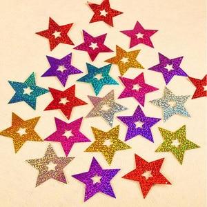 Image 4 - 100Pcs 반짝 이는 별 판지 카드 풍선 펜던트 리본 웨딩 풍선 장식 파티 용품 6 색 옵션 30