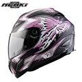 Nenki womne mariposa impresión de la motocicleta de la cara llena casco calle motor moto racing riding casco dot cubierta de lente transparente