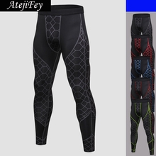 AtejiFey New Mens Net Printed Workout Compression Running Yoga Pants Fitness Clothing Breathable High Waist Sweatpants Leggins