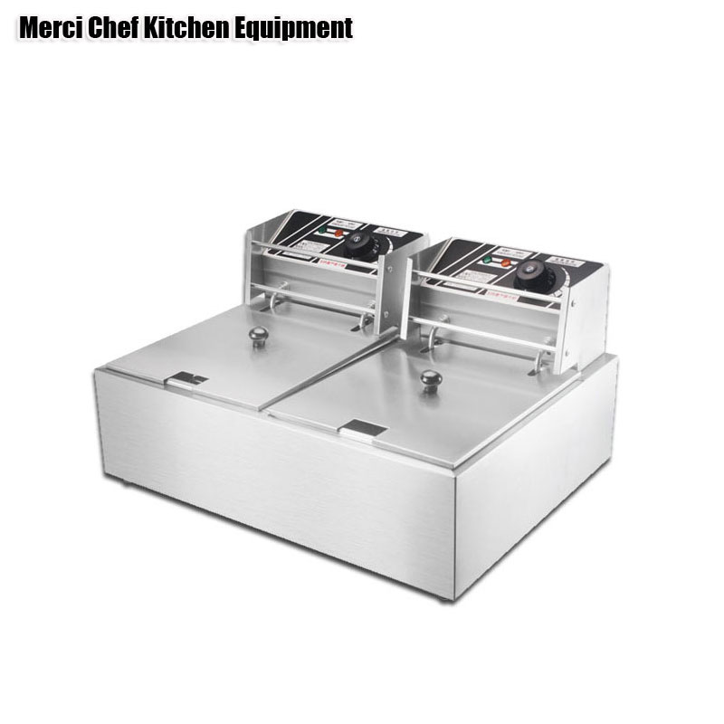 2 Tanks 16L Electric Deep Fryer Stainless Steel Frying Machine Commercial Fryer Grill Frying Pan French Fries Machine Hot Pot stainless steel 2 tanks electric deep fryer commercial electric fryer french fries fried chicken deep frying furnace wk 82
