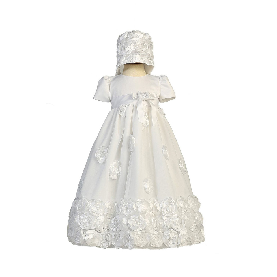 ФОТО With Hat Baby Girl Party Christening Dress 1 Year O neck Appliques Short Sleeve A Line Vestido Infantil Menina Baptism Gown