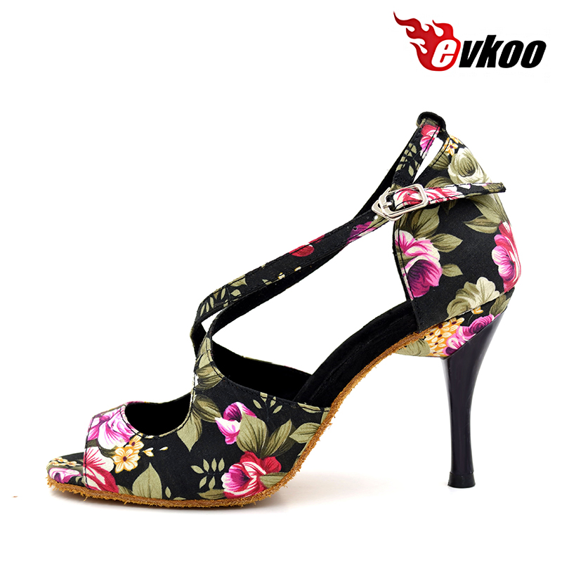 Evkoodance Zapatos De Baile Latino Shoes Flower Pattern Satin Material 8.5cm Heel Ballroom Latin Shoes For Ladies Evkoo-007