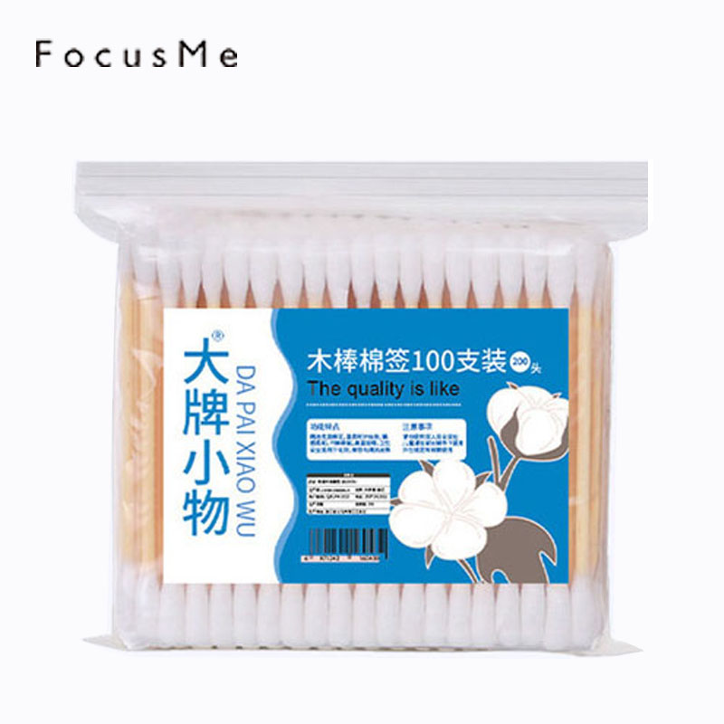 100pcs/Pack Bamboo Handle Disposable Cotton Swabs Makeup Health Medical Ear Jewelry Cleaning Sticks Wood Cotton Buds Q-tip Hot