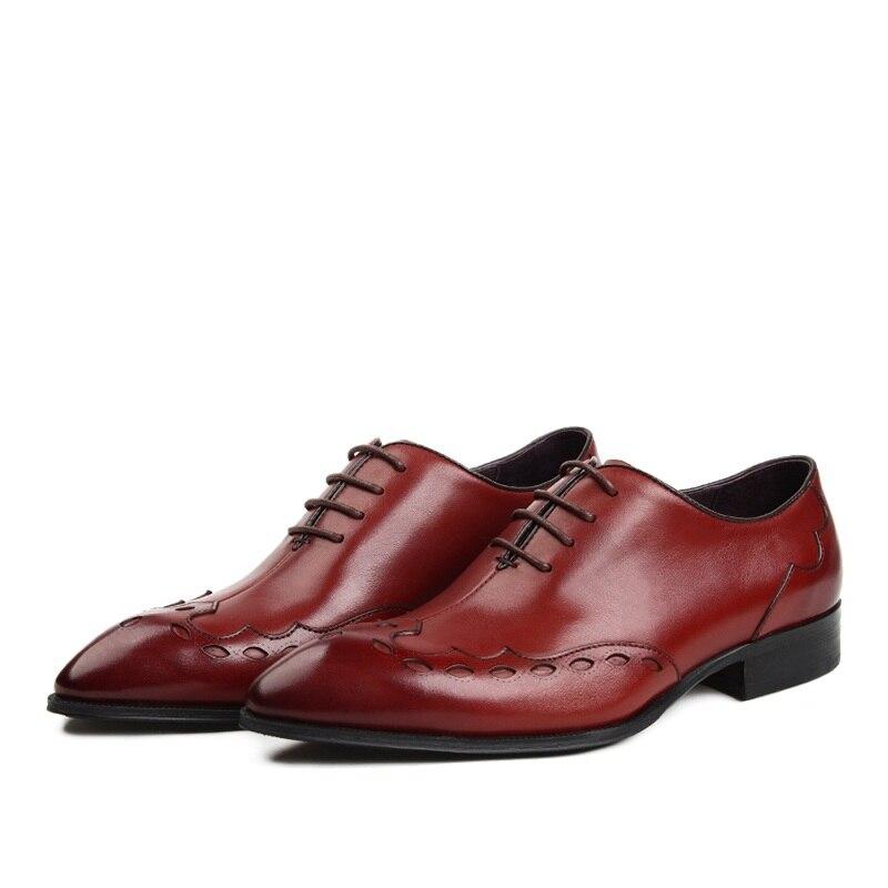 MYCOLEN Luxury Genuine Leather Red Black Lace Up Mens Dress Shoes Formal Party Office Man Oxfords Men Dress Shoes Rubber Sole