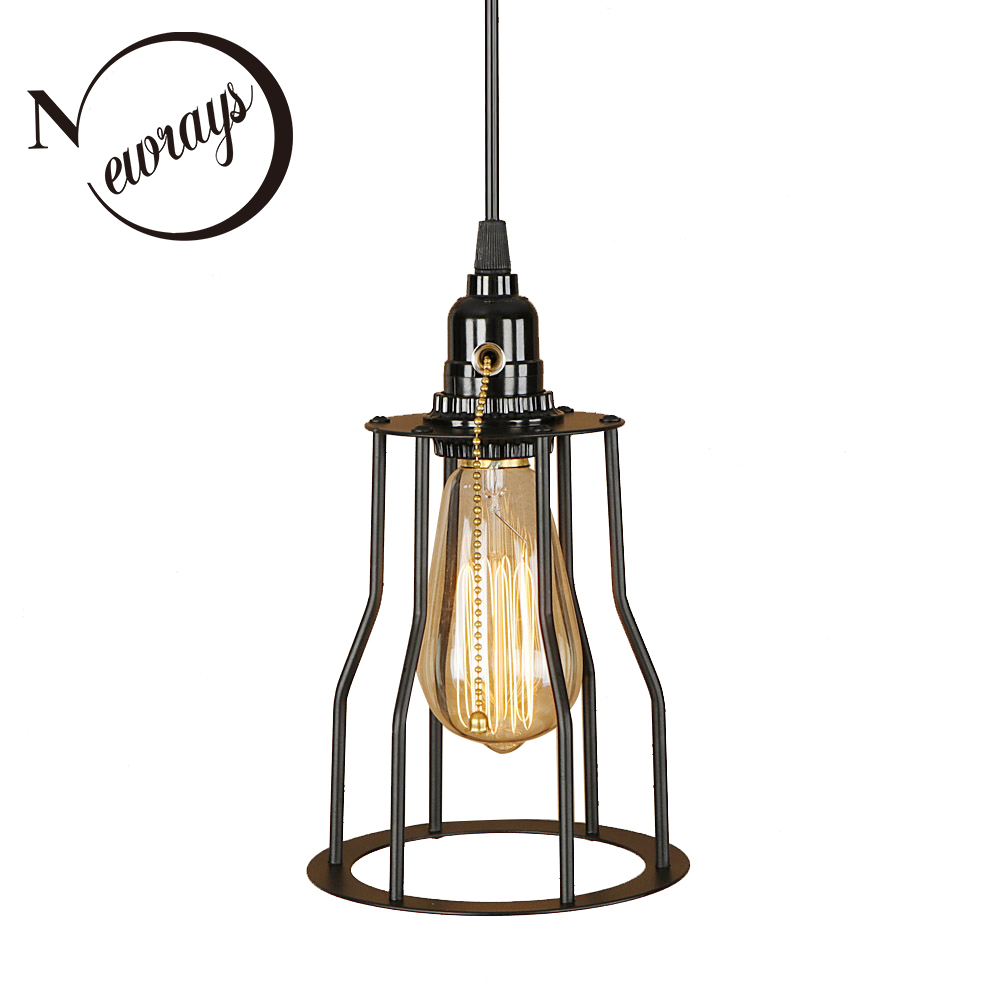 American modern iron painted industrial hanging lamp E27 LED 220V with switch pendant Light for kitchen living room hallway cafe