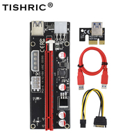 TISHRIC 10pcs 2018 Newest 1x to 16X PCI Express PCIE PCI E 009S Molex 6pin Power Supply Adapter SATA to USB 3.0 Cable Riser Card