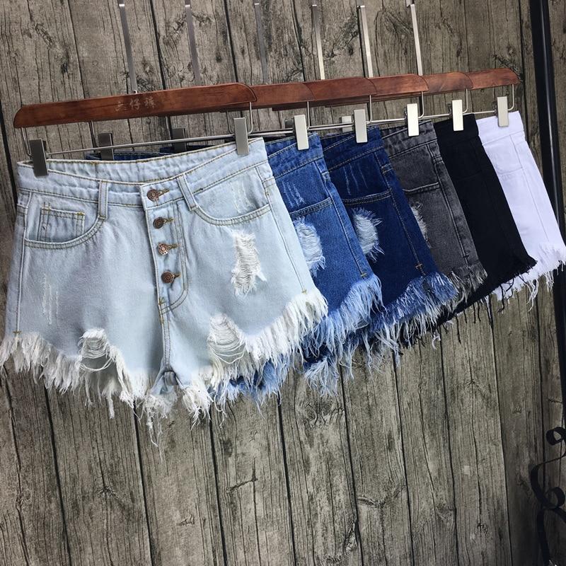 new fashion sexy women spring summer Breasted denim shorts hole plus size female girls wide leg pants Ripped Tassel shorts