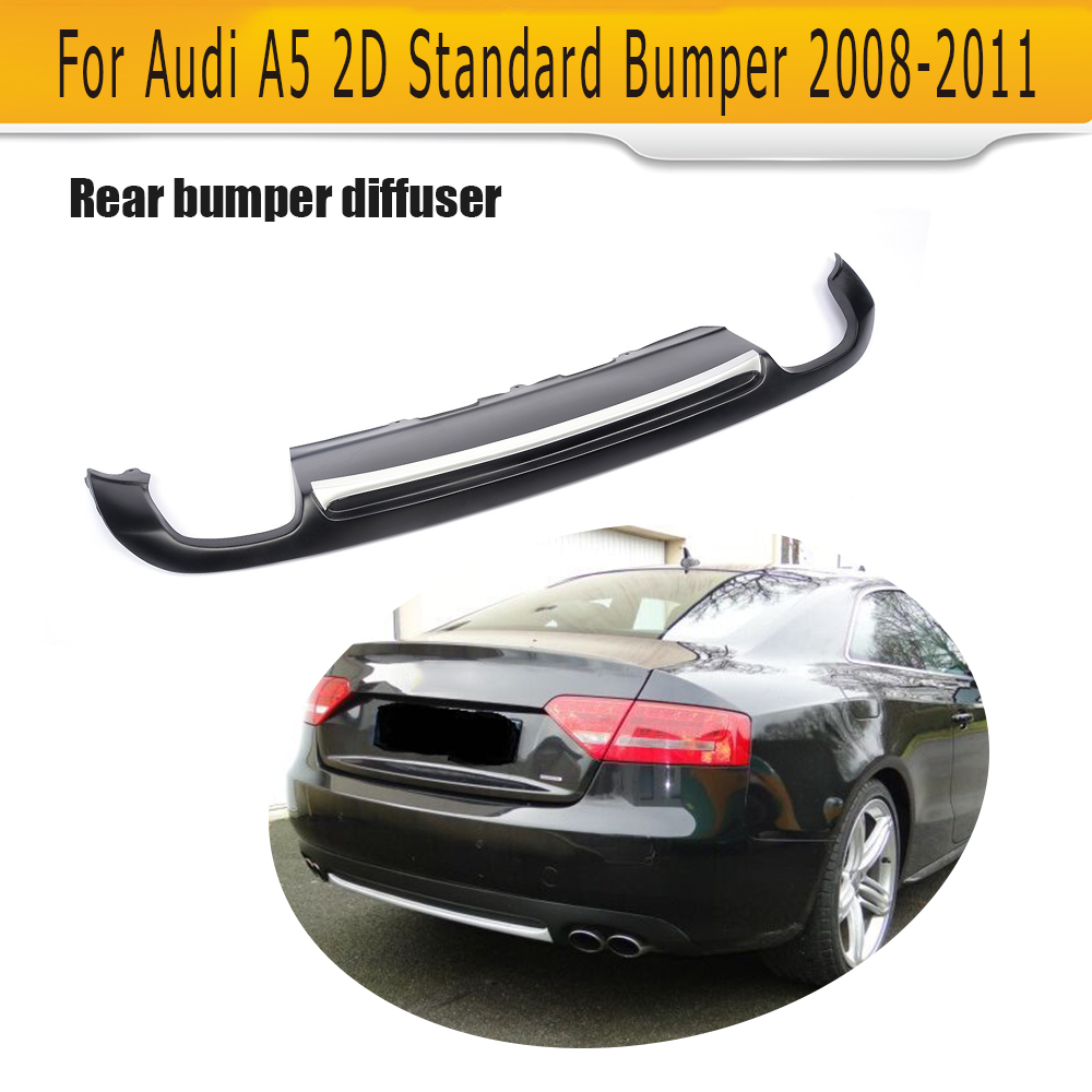 PU Rear Bumper Lip spoiler Diffuser For Audi A5 Coupe Standard Only 2008-2011 Non-Sline Black With Decoration S5 Style