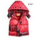 Новый 2-7 Т зима детская жилет пальто мода письмо уличная стиль мальчики девочки верхняя одежда теплый хлопок дети с капюшоном пальто мужской