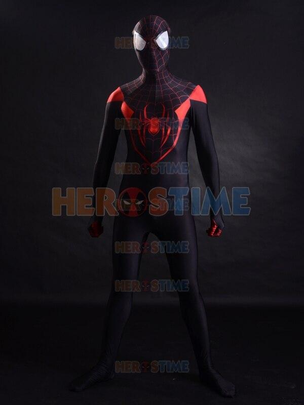 2015 červená spiderman kostým lycra 3D tisk Miles pavouk-muž Kostým fullbody superhero zentai kostým