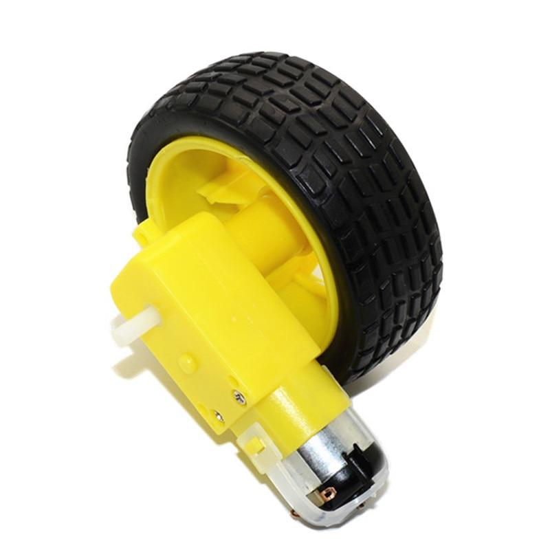 Smart Car Robot Plastic Tire Wheel Tyre + DC3-6V Gear Motor For Robot