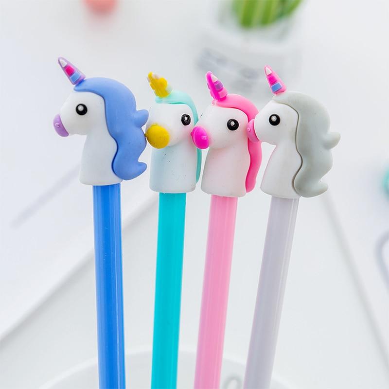 1 pcs 4 colors 0.5mm Creative unicorn Gel Pen Signature Pen Escolar Papelaria School Office stationery Supply Promotional Gift