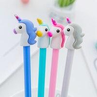 1 pcs 4 colors 0.5mm Creative unicorn Gel Pen Signature Pen Escolar Papelaria School Office stationery Supply Promotional Gift Gel Pens