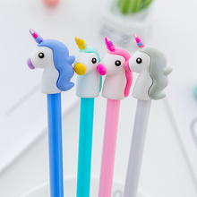 1 pcs 4 colors 0.5mm Creative unicorn Gel Pen Signature Pen Escolar Papelaria School Office stationery Supply Promotional Gift 1 pcs creative botanic cactus cartoon gel pen black ink 0 5mm signing pen school office supply gift stationery papelaria escolar