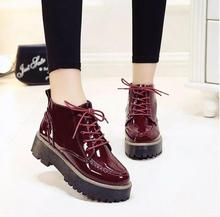 Creeper 2016 Women Ankle Boots Patent Leather Platform Shoes Woman Casual Flats Fashion Lace-Up Women Shoes