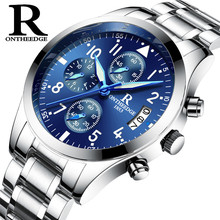 ONTHEEDGE Mens Watch Clock Business Quartz Steel Wrist Watches Waterproof small plate chronograph luminous pointer montre