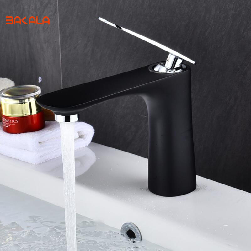 BAKALA Innovative Fashion Style Home Multi-color Bath Basin Faucet Cold and Hot Water Taps BLACK+CHROME bathroom mixer tapsBAKALA Innovative Fashion Style Home Multi-color Bath Basin Faucet Cold and Hot Water Taps BLACK+CHROME bathroom mixer taps