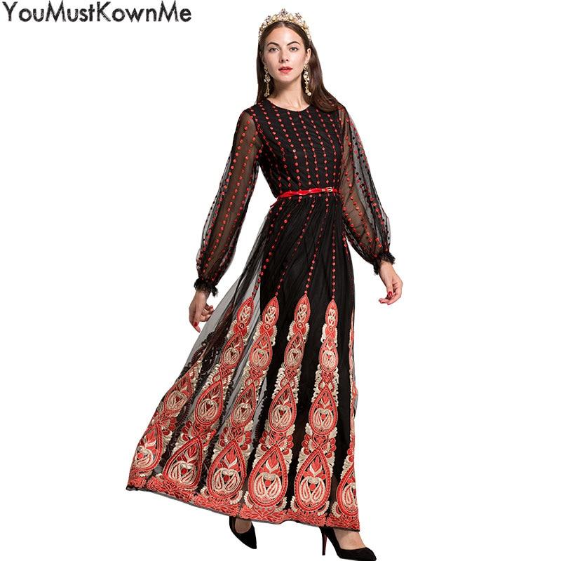 YouMustKnowMe black floral embroidered retro maxi long dress women lantern long sleeve round neck elegant evening long dresses