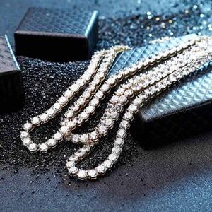 Image 5 - Collier en argent Sterling 925, 3 6mm, bijou en argent et or glacé pour hommes, chaîne de Tennis Hip Hop, pour cadeau
