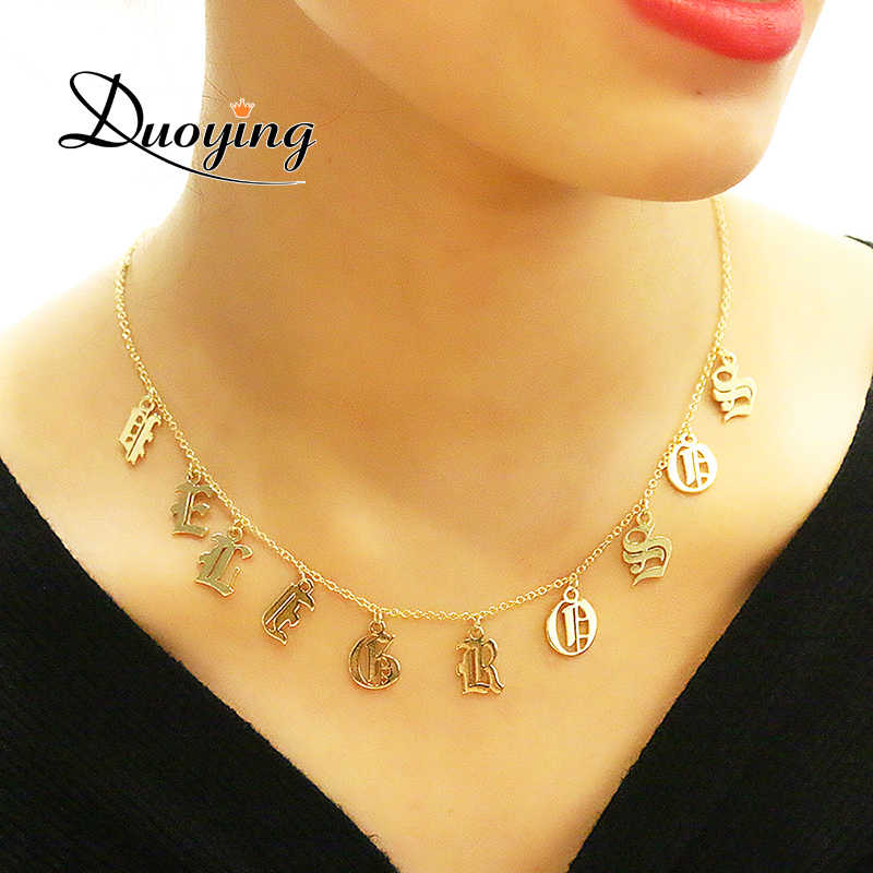 DUOYING Old English Style Custom Tiny Letter Pendant Necklaces Beauty Vintage Font Personalized Choker Name Necklace for Etsy