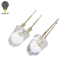 10 шт. WAVGAT светодиодный 10 мм белый прозрачный 150 мА 0,75 Вт Ультра яркий круглый светодиодный светильник, излучающий диодную лампу в форме пули