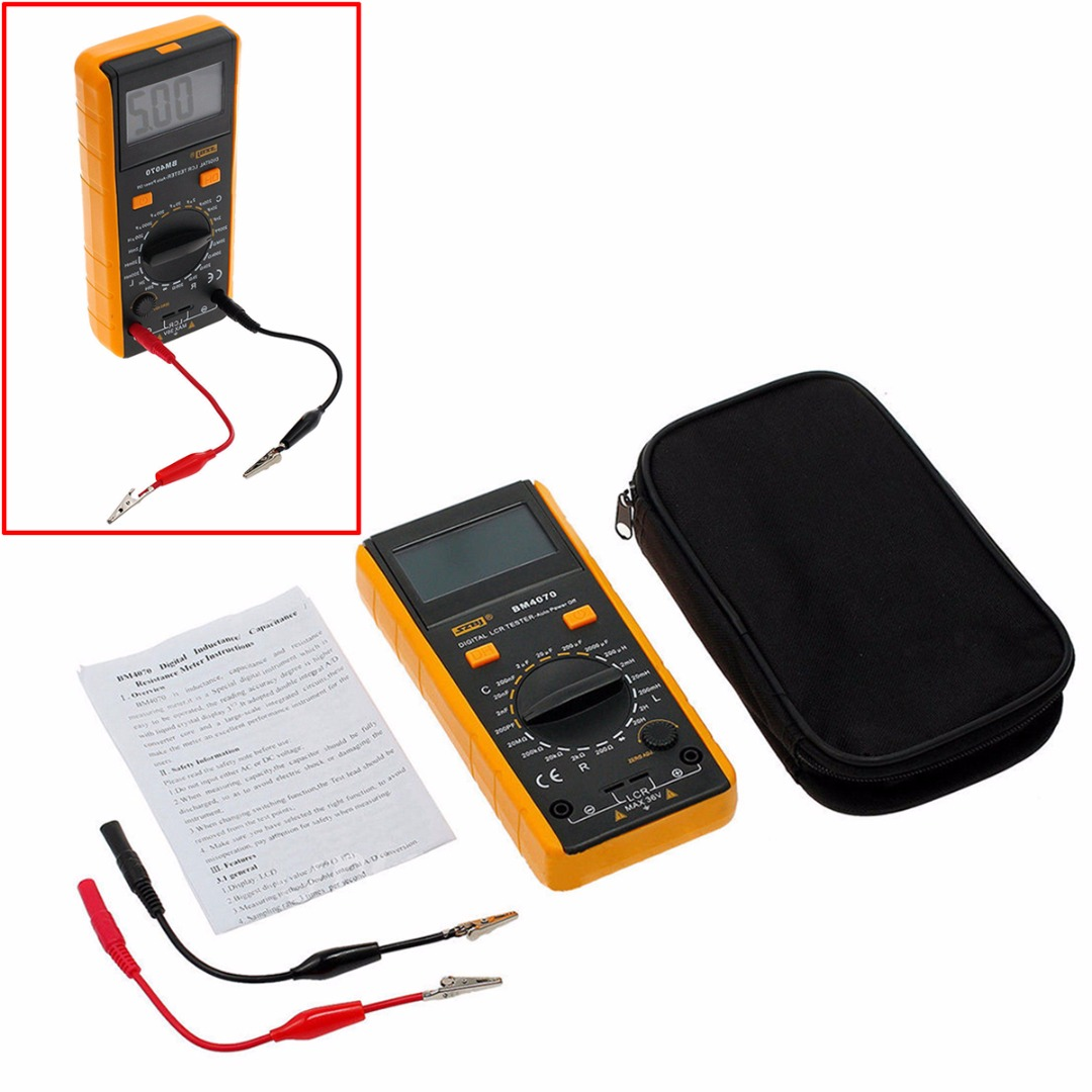BM4070 Multifunction Digital Multimeter LCR Meter Inductance Capacitance Resistance Tester With Crocodile Clip hyelec ms89 2000 counts lcr meter ammeter multitester multifunction digital multimeter tester backlight capacitance inductance page 5