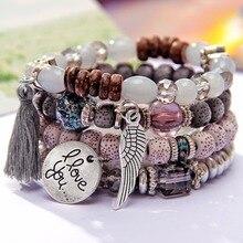 4 шт./компл. крылья сердце кулон сплава богемский бисер браслеты для женщин lava браслет с камнями Браслеты для вечерние