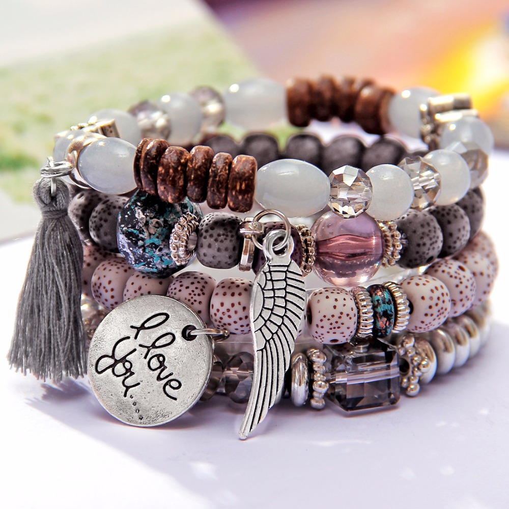 4pcs/set wings heart alloy pendant beads bohemian bracelets women lava stone wristband bangles for party