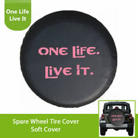 White /Pink Print One Life Live It Black PU Leather Spare Tire Cover For Jeep Wrangler Sahara Rubicon Hummer Toyota FJ Cruiser|life cover|life case|life print -