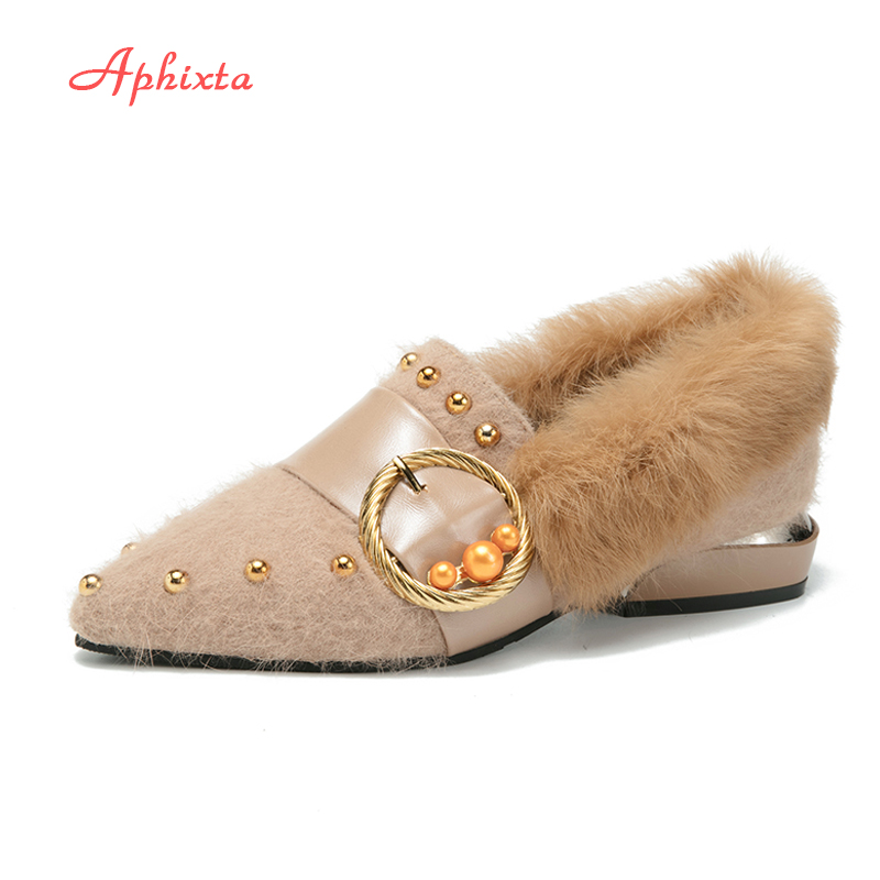 Aphixta Wool Fabric Women Flats Slip On Bordered Beads Casual Shoes Pointed Toe Fur Shoes Spring Autumn Outdoor Flat Shoe daitifen 2018 spring elegant mental buckle pointed toe ladies flat shoe fancy flock shoes women flats casual slip on women flats
