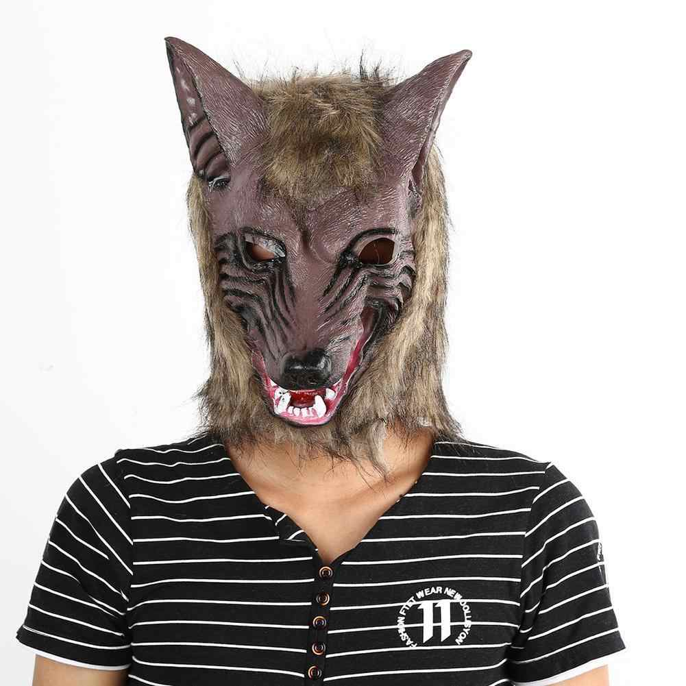 Mask Big Bad Wolf Adult Full Head Wolf Mask Werewolf Halloween Costume  Accessory Party Masks real film expression