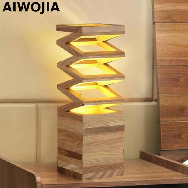 Moderne En Bois Lampe De Table E27 Led Lampes Pour Table Titulaire