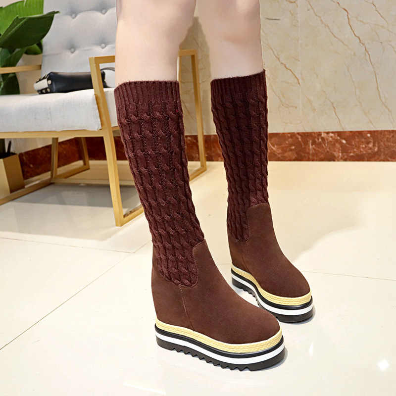 830e5c4091a8 SWYIVY Women s High Boots Shoes Patchwork Knit Top 2018 Autumn Girl Casual  Shoes Platform Hided Wedge