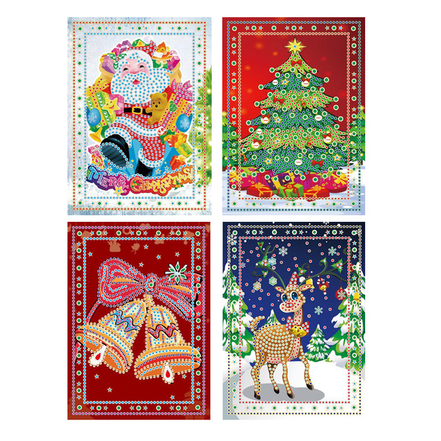 DIY 5D Diamond Painting Cartoon Santa Claus Merry Christmas Greeting Cards Full Round Greeting Card Xmas Home Decoration