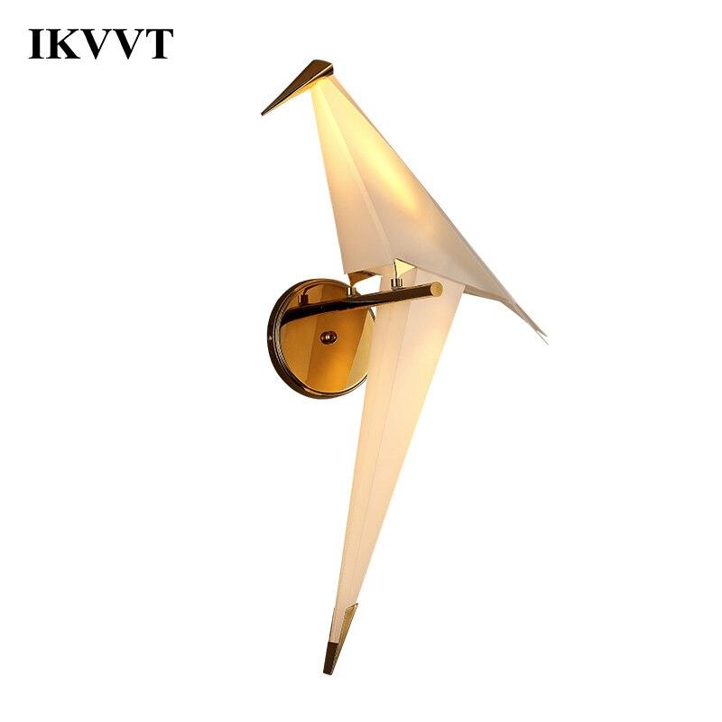 Ikvt led design pássaro lâmpada de parede cabeceira criativo origami guindaste papel parede luz para loft quarto estudo foyer sala jantar