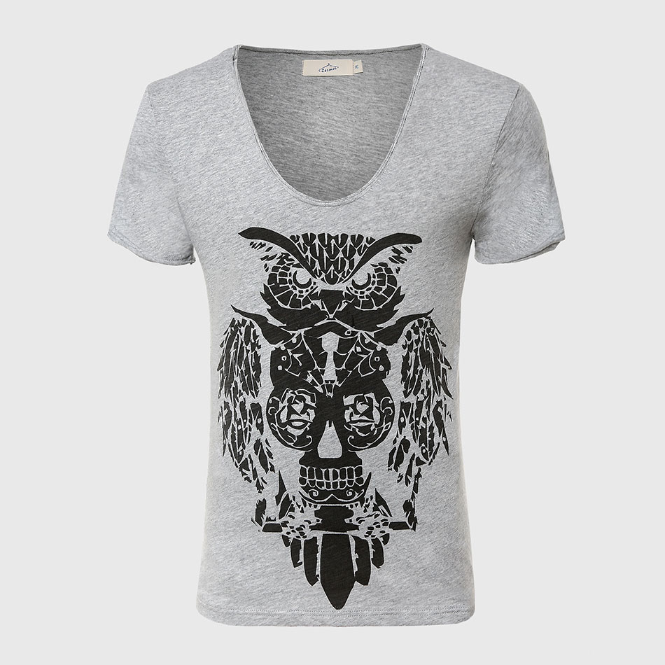 Cool Owl Print Men T Shirt Designer Deep V Neck T Shirts