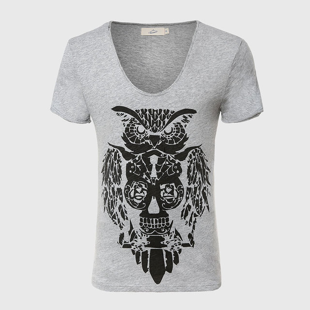Cool owl print men t shirt designer deep v neck t shirts for Luxury t shirt printing