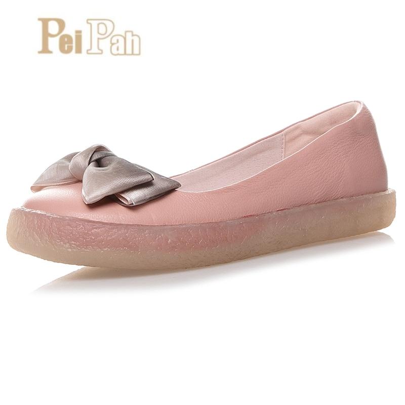 PEIPAH Designer à la main en cuir de vache femmes chaussures décontracté appartements chaussure Mocassin femmes bateau chaussures d'été en cuir plat Espadrilles