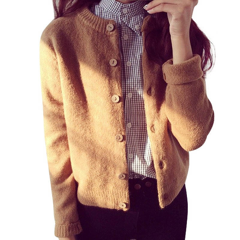 Women Cardigan Sweater Autumn Winter Woolen Knitted Cardigan Female Thick Short Jacket Sweater Women Basic Coats Jumper C2392