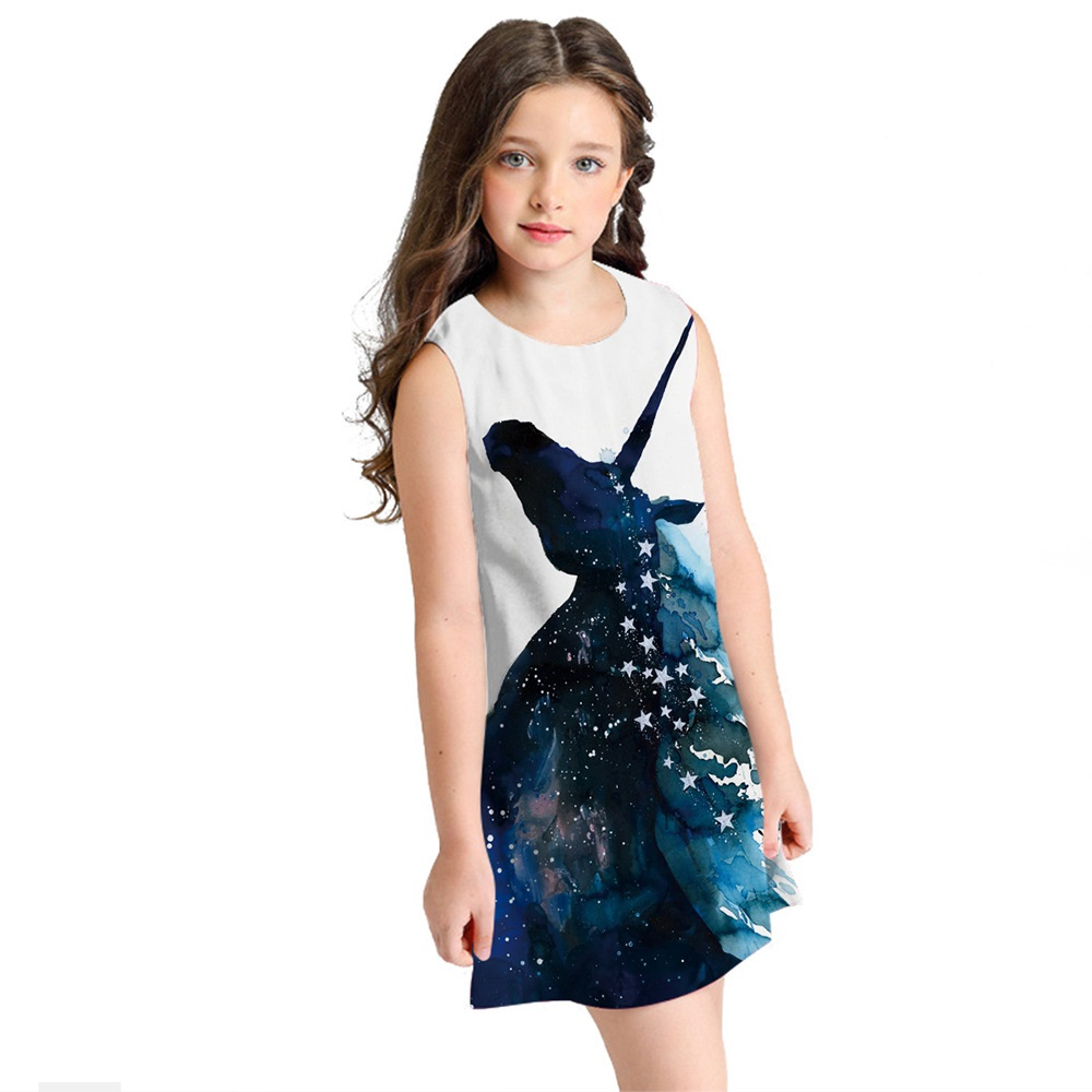 Unicorn Girls Party Dress Kids Fille For Girls 10 To 12 Years Summer Toddler Clothes