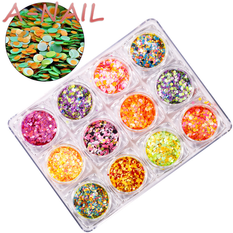 12 Nail Art Glitter ROUND Shapes Confetti Sequins Acrylic Tips UV Gel C Style Sale By 12pcs/set artlalic 48 bottles nail art rhinestones beads sequins glitter tips decoration tool gel nail stickers mixed design case set